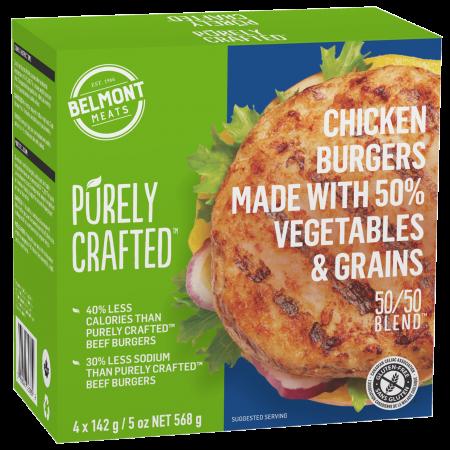 1010851_PURELY CRAFTEDΓäó_50 & 50 BlendΓäó_Chicken & Veggie Burgers_3D render